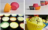 Силиконовая форма для выпечки и желе Кекс цветок 6 ш т на листе , 24*16*4см, фото 2