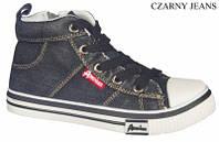 Стильные, джинсовые высокие кеды American club аля Converse для женщин и подростков р.36,37,38,40 черные
