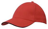 Кепка-сэндвич шестипанельная Brushed Cotton Cap, красная с синей вставкой, от 10 шт