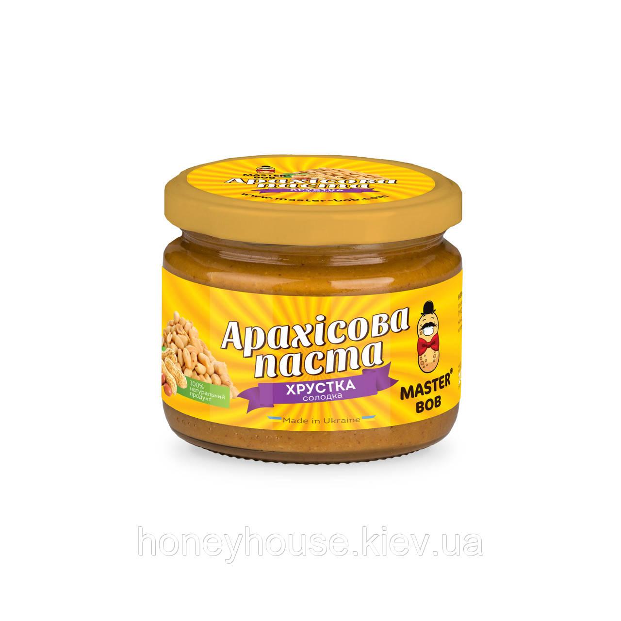 Паста арахисовая  классическая сладкая, хрустящая ТМ Мастер Боб, 200гр