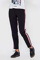 Укороченные женские брюки с розовыми вставками