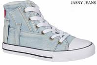 Стильные, джинсовые высокие кеды American club аля Converse для женщин и подростков р.36,37,40,41 светло-синие