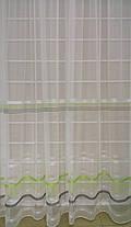Тюль Полоска Салатовый, микросетка с вышивкой, фото 3