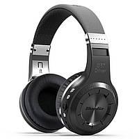 Мощная Bluetooth гарнитура Bluedio H+ черная с микрофоном стерео беспроводная microSD USB 3.5 jack fm радио