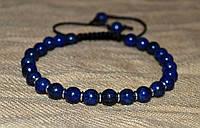 Браслет из лазурита (6 мм). Синий браслет