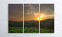 "Модульная картина на полотне ""Утро в горах. Кавказ"""