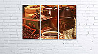 """Модульная картина на полотне """"Кофе и зерна"""""""