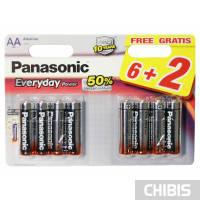 Батарейка АА Panasonic Everyday Power 6+2 LR06 1.5V alkaline блистер 8/8 шт