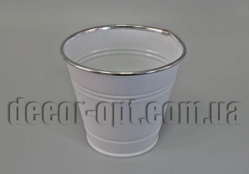 Ведро-кашпо белое малое YJ15-001-А Ø11,5см/h10см