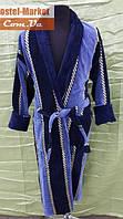 Мужской халат велюр сине-голубой V01 ZERON