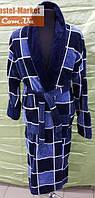 Мужской халат велюр сине-голубой V02 ZERON