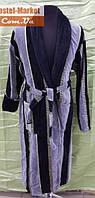 Мужской халат велюр серый V02 ZERON