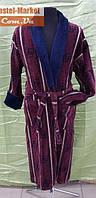 Мужской халат велюр бордовый ZERON
