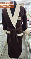 Мужской халат велюр коричневый с вышивкой Zeron