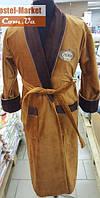 Мужской халат велюр светло-коричневый с вышивкой Zeron