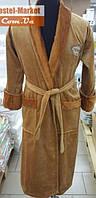 Мужской халат велюр бежевый с вышивкой Zeron