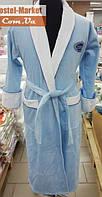 Мужской халат велюр голубой с вышивкой Zeron