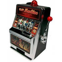 Игровой автомат-копилка LM-12 Однорукий бандит (пластик, металл, р-р 11,5*19,5*9см)