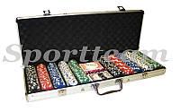 Покерный набор в алюм. кейсе-500 IG-2115 (500 фишек с номинал,2 кол. карт,5куб, р-р кейса 57*31*6,5см)