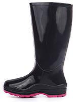Резиновые сапоги женские Vuitton высокие черные марсала, Черный, 38 , фото 1