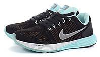 Кроссовки женские замш Nike Lunarglide 7 Running черные с мятным, Мятный, 36 , фото 1
