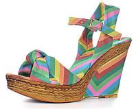 Босоножки женские на танкетке Valentino разноцветные, Разноцветный, 37 , фото 1