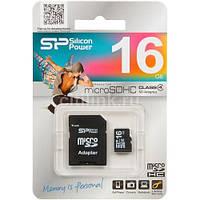 Карта памяти microSD Silicon Power 16 GB class 4 + Adapter, фото 1
