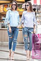 "Блуза модная хлопок ""Волан"" с узорами на рукавах 2 цвета RY76"