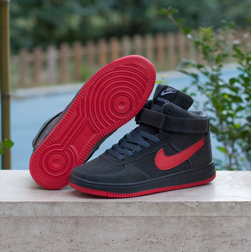 46ac6e41 Кроссовки в стиле Nike Air Force High Grey/Red мужские - Интернет-магазин «