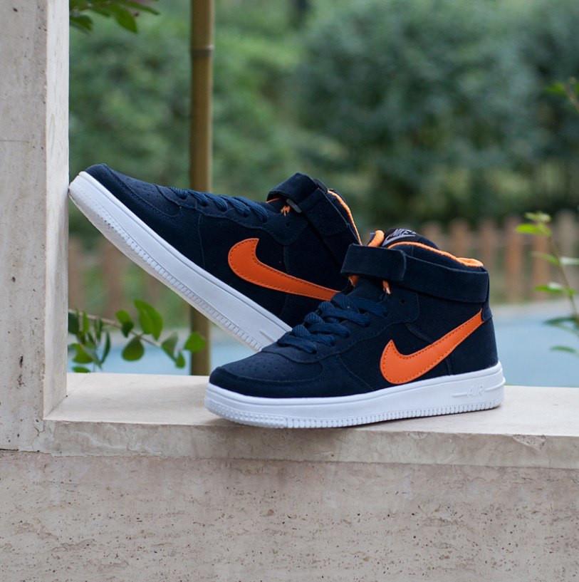 Кроссовки в стиле Nike Air Force High Blue Suede Orange White Sole мужские e259999bf2406