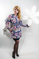 """Весенний женский кардиган """"Шанель"""" с цветочным принтом синего цвета"""