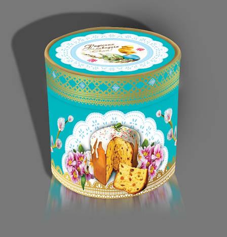 """Тубус из витого картона для пасхального кулича """"Пасхальный"""", на вес до 1кг, от 1 штуки, фото 2"""