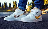 Кроссовки Nike Air Force High White/Gold мужские
