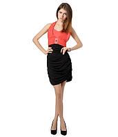 Платье гафрировка черно красное