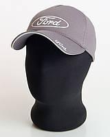"""Мужская бейсболка с автологотипом """"Ford"""" серого цвета (пятиклинка лакоста)."""