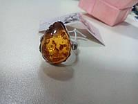 Индийское кольцо с ярким янтарем в серебре.
