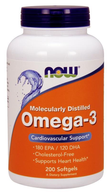NOW OMEGA 3 (200 капсул)  Рыбий жир -концентрат в капсулах по 1000 мг