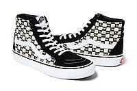 Высокие женские кеды Supreme x Vans Sk8-Hi Black/White топ реплика