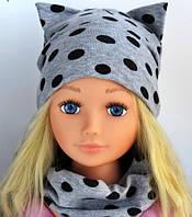 Детские головные уборы шапка+хомут Кошечка 3-6 лет