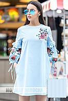 Платье хлопковое принт в стиле вышивки