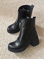 Женские кожаные демисезонные ботинки Zara на среднем каблуке,модель 2017,36-40р