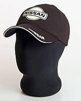 """Мужская бейсболка с автологотипом """"Nissan"""" черного цвета (лакоста пятиклинка)."""