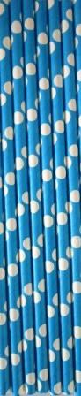 Трубочки для напитков картонные темно- голубые в горошек 5 шт