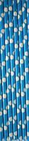 Трубочки для напитков картонные ярко-голубые в горошек 5 шт