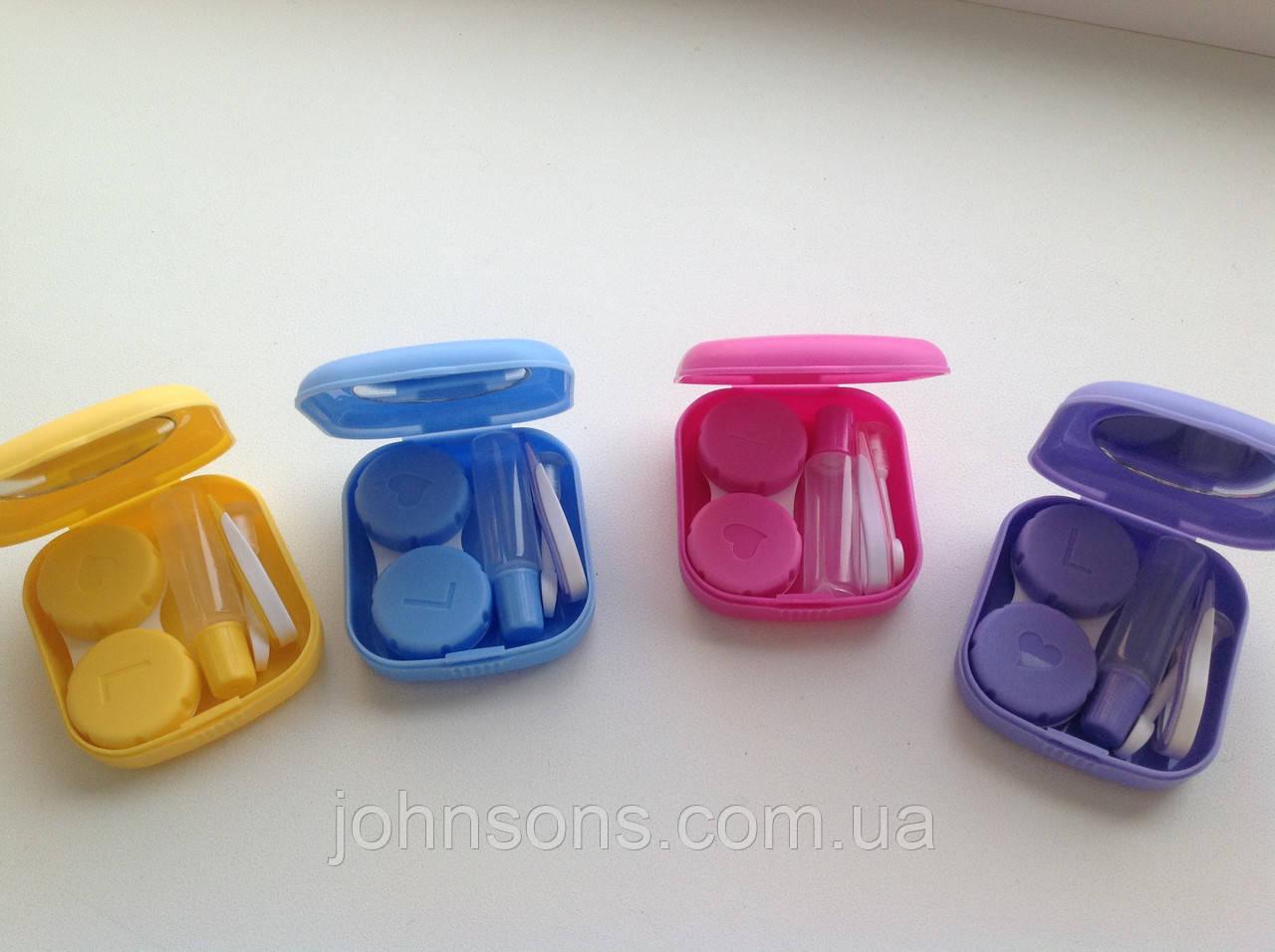 Желтый Дорожный набор для контактных линз малиновый
