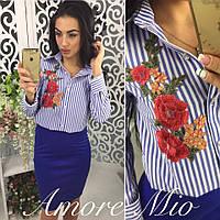 Костюм рубашка в полоску с вышивкой и юбка карандаш разные цвета KL382, фото 1