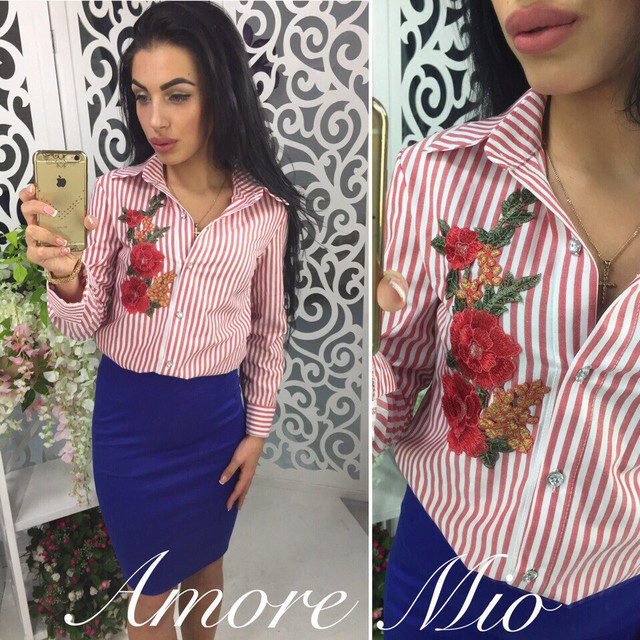 2d1e912d653 Рубашка женская с вышивкой в полоску хлопок 2 цвета RL83 недорого ...