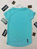 Детская бирюзовая футболка свободного кроя, с удлиненной спинкой