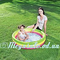 Детский надувной бассейн Радуга Bestway 51104: 102х25см, надувное дно