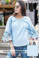 Рубашка хлопок с воланами и рюшами цвет голубой